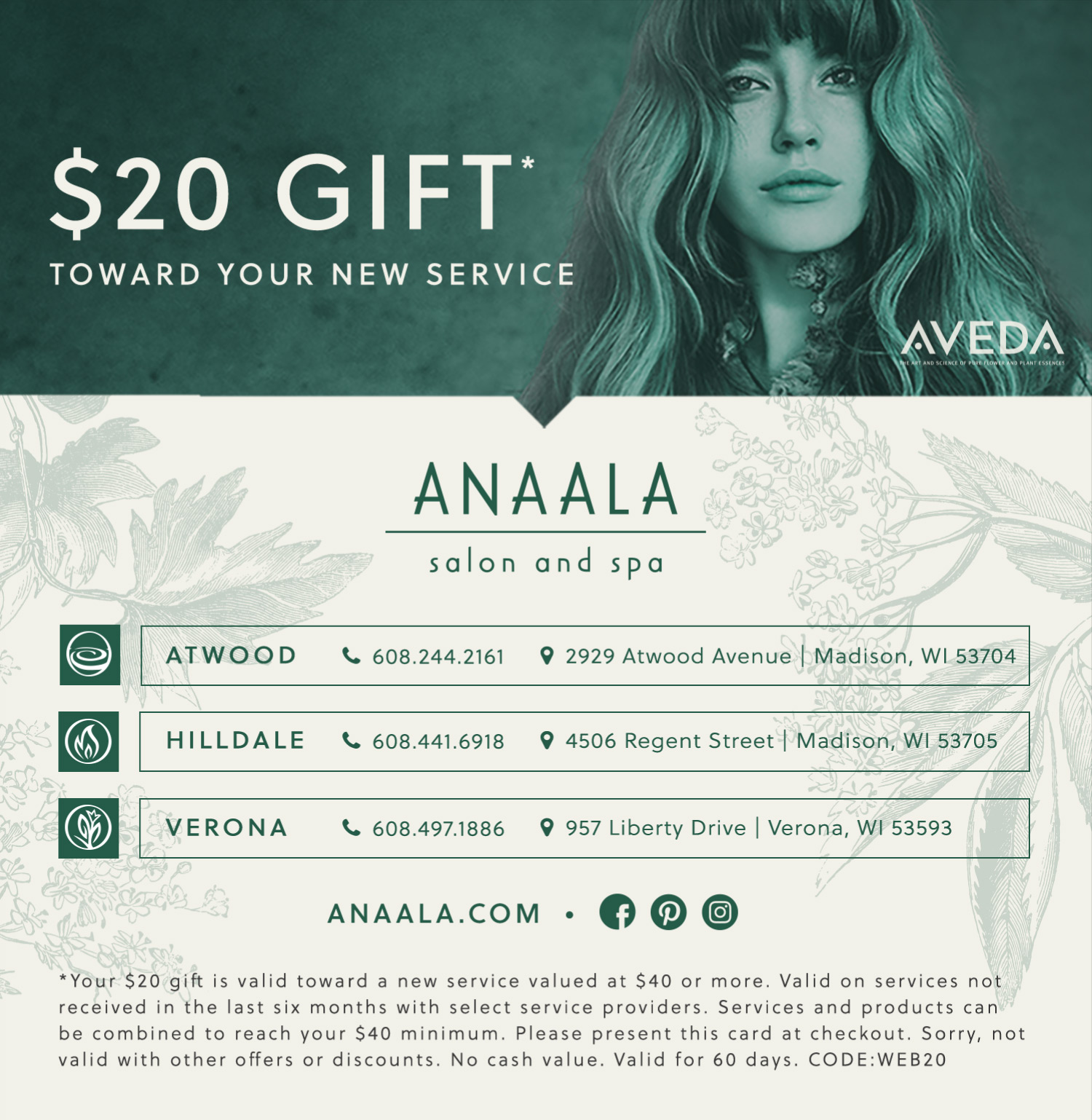 $20 Gift toward your new service at Anaala Salon and Spa.